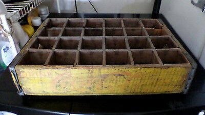 Old Vintage Wooden Yellow Coca-Cola Coke Soda Pop Bottle Crate Carrier Wood Box