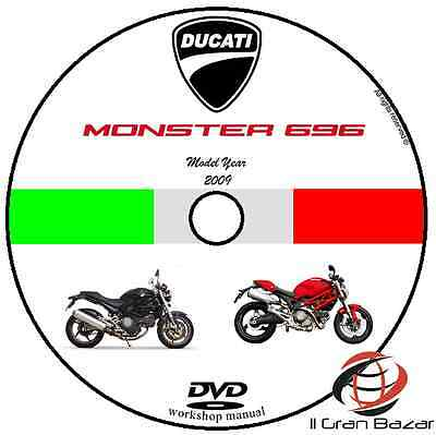Manuale Officina Ducati Monster 696 My 2009 Workshop Manual Service Cd Dvd