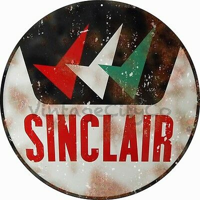 "Antique Style "" Sinclair "" Round Metal Sign - Rusted"