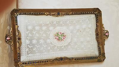 Surperb Antique Jeweled Vanity Tray w/ Lace insert Gold Ormolu