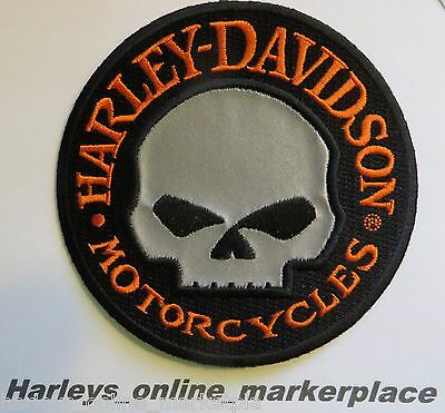 """HARLEY DAVIDSON reflective Willie G skull 4"""" patch, new in package"""