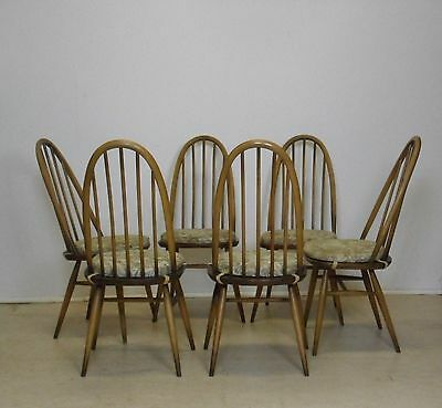 Set Of 6 Ercol Dining Chairs Including Seat Pads