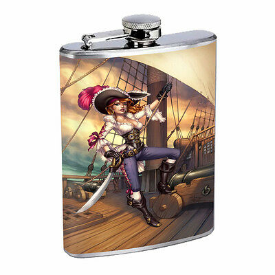 Savage Pirate Pin Up D2 Flask 8oz Stainless Steel Hip Drinking Whiskey Rum