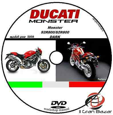 Manuale Officina Ducati Monster S2R800 S2 R 800 Dark My 2006 Workshop Manual Dvd