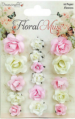 NEW Dovecraft Floral Muse Paper Flowers 16 Pack