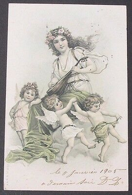 Sweet Little Angels Dance around Pretty Brundage Girl Playing Mandolin 1905 pc