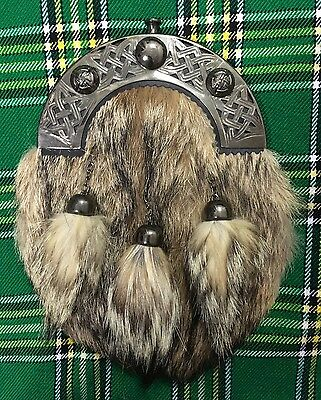New Full Dress Kilt Sporran Fox Fur Celtic Cantle Antique/Scottish Kilt Sporrans