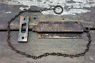 VTG Old Antique Worn Tiger Copper Flash PULL Chain Gate Door Latch Security Lock