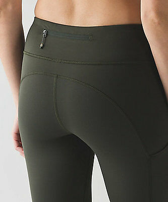 NEW Lululemon Speed Crop Gator Green Army Green MESH Running Tights --- NWT Sz 4