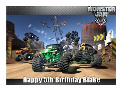 GRAVE DIGGER MONSTER TRUCKS A4 Edible Icing Birthday Cake Decoration Topper #3