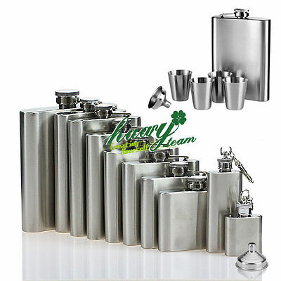 Stainless Steel Hip Flask Liquor Whiskey Alcohol Pocket Bottle Cup Funnel Case