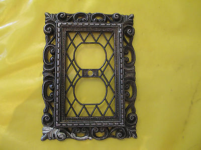 Ornate Vintage Antique Double Plug Metal Outlet Cover Switch Plate