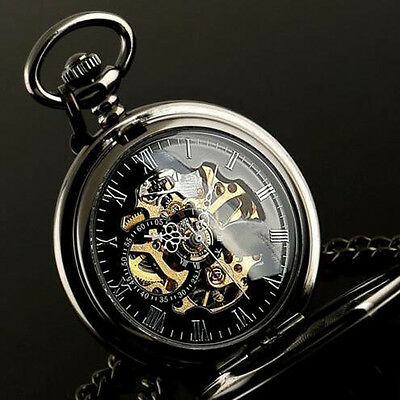 Hot Mechanical Skeleton Steampunk Watch Mens Pocket Watches Black Chains Gift