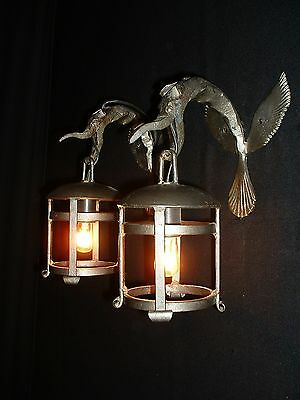 Vintage French Iron Arts and Craft sconces Dragon design 4 pairs available