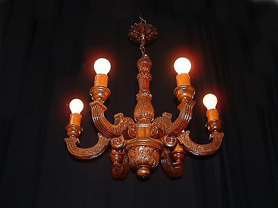 Vintage French carved wood 6 arm chandelier with original wood canopy
