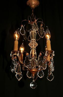Vintage French bronze & crystal chandelier 1930's Amzingly beautiufl