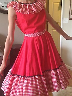 Vtg Square Dance Western Party Dress. Size 8 Women's Red/White.