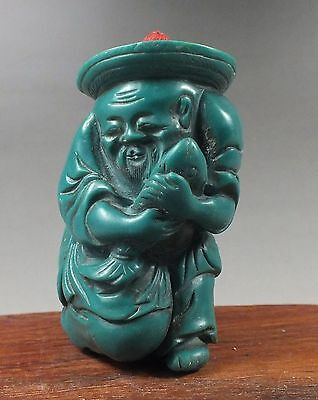 Chinese Turquoise Carving Happy Old Fisherman Snuff Bottle