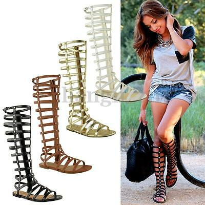 New Womens Gladiator Roman Sandals Zipper Knee High T-Strap Boots Summer Shoes