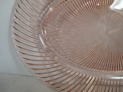 Pink Depression Glass Platter Oval Diana Pattern Federal Ribbed Swirl Vtg 1930s