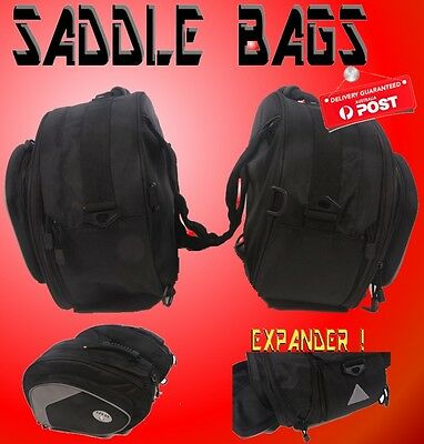 MOTORCYCLE SADDLE BAG EXPANDABLE PANNIERS  Motor bike