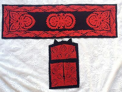 2 Piece Hungary Red Felt Cut Outs Sewn on Black Felt Runner/Display (570)