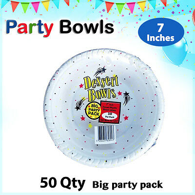 Disposable Plastic Bowl 7 Inch 50/Pc Bowl White Party Occasions New Plates