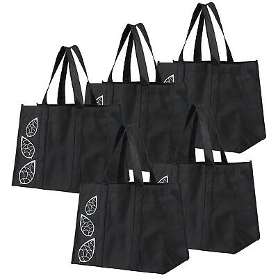 Bekith 5 Piece Large Collapsible Shopping Bags SetBlack Reusable Reinforced G...