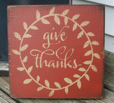 PRIMITIVE COUNTRY GIVE THANKS  SQ.  SIGN  FALL~harvest