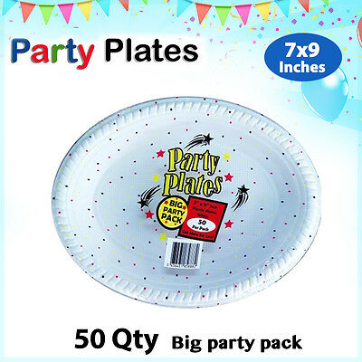 Disposable Plastic Plates 7x9 Inch 50/Pc Oval White Plate Party Occasions New