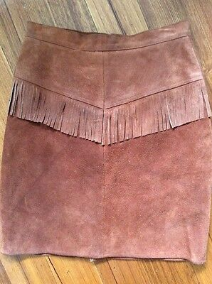 Vintage Brown Leather Suede Fringe Skirt Western Cowgirl Style