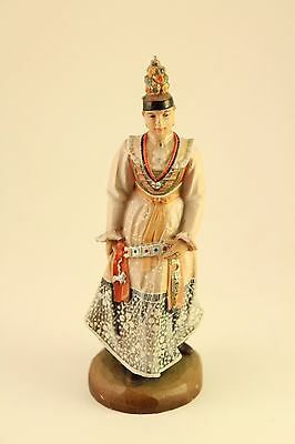 Vtg Rare Anri Carved Wood Sculpture Figurine Wedding Party Sister of the Bride