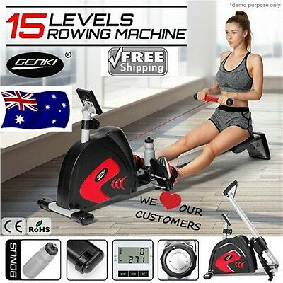Rowing Machine Exercise Power Rower Resistance Magnetic Flywheel w/ Water Bottle