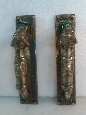 Classical Brass Small Elephant Design Door Handle Pair Room Home Decor India Art