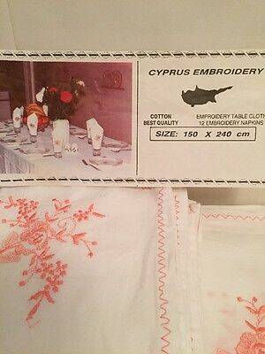 Cotton Embrodery Table Cloth &12 Embroidered Napkins
