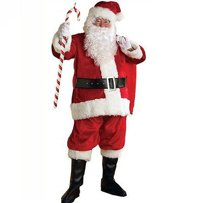 1 Set Santa Claus Adults Suit Father Christmas Deluxe Fancy Dress Costume Xmas