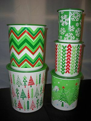 New Tupperware Holiday Christmas 5 piece One Touch Canisters-coordinating design