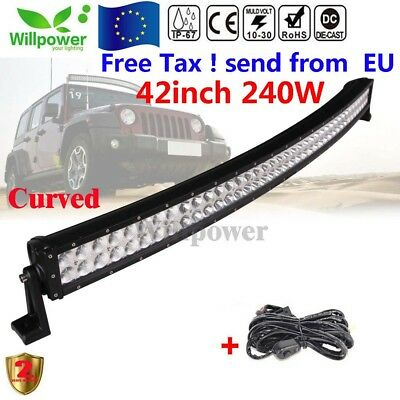 240W 42 inch Curved Combo LED Light Bar Tractor Jeep Truck 4WD LED barra de luz