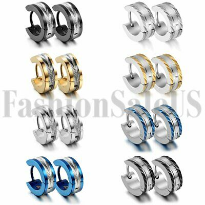 Men's Womens Unisex Stainless Steel Charm Hoop Huggie Ear Studs Earrings 8 Pairs