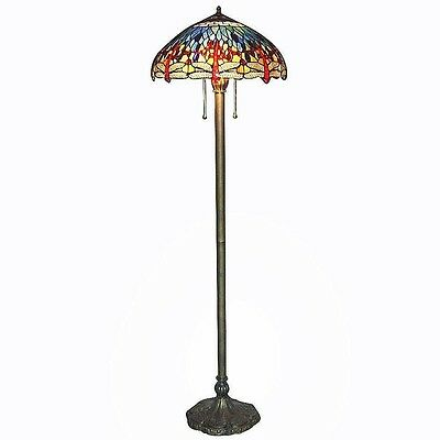 """Floor Lamp Tiffany Blue Dragonfly Hand Cut Stained Glass 60"""" Bronze Metal Base"""