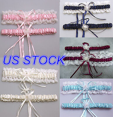 STOCK New Ivory Set Satin White Lace Pearl Ribbon Bow Wedding Bridal Garters