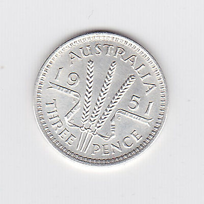 1951L Kgvi Australian Threepence (50% Silver) - Great Coin