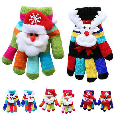 3D Cute Boys&Girls Christmas Colorful Winter Warm Kids Gloves Xmas Gifts Random