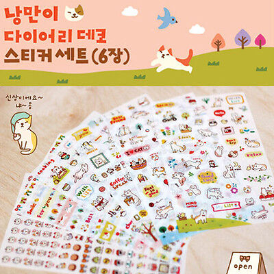 6Pcs Cat Story Cartoon Stickers Calendar Scrapbook Diary Planner Decor Craft DIY