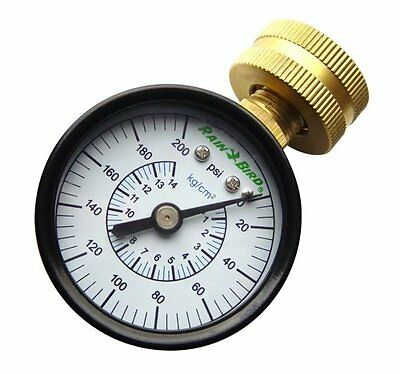 Rain Bird P2A Water Pressure Gauge Reading 0-200 PSI Hose Thread Adapter New
