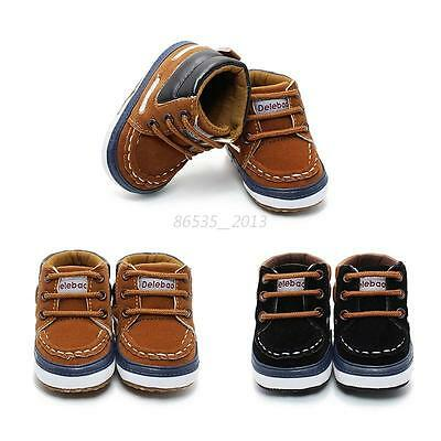 Newborn Baby Infant Boy Girl Toddler Boots Soft Sole Crib Shoes Size 0-12 Months