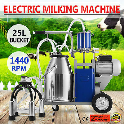 Electric Milking Machine Farm Cows W/Bucket 1440RPM 304 Stainless Steel Pioton