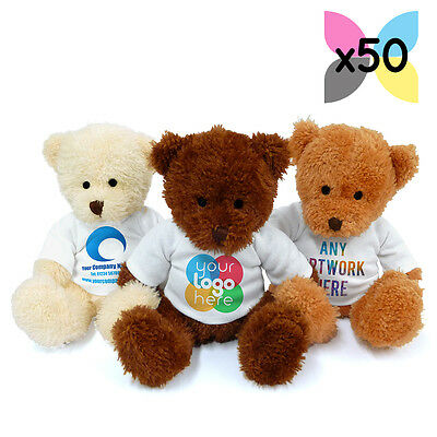50x PERSONALISED PROMOTIONAL SOFT TOYS JAMES TEDDY BEARS GIFTS UR LOGO PRINTED!