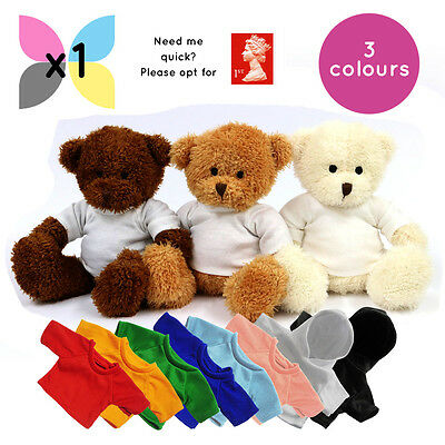 1 James Teddy Bear Soft Toy W/ Plain Blank Printable Coloured T-Shirt Or Hoody