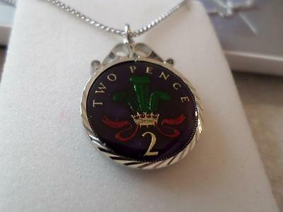 Vintage Enamelled Two Pence Coin Pendant & Necklace 1994. Xmas Birthday Present